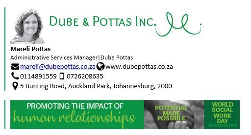 Dube and Pottas Banner World Social Work Day - Exclaimer Email Signature