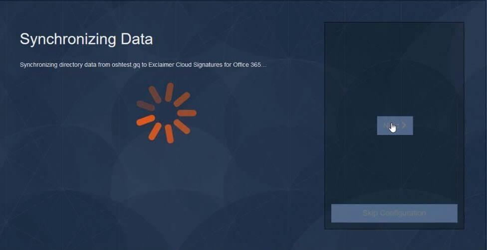 Synchronizing data to Exclaimer