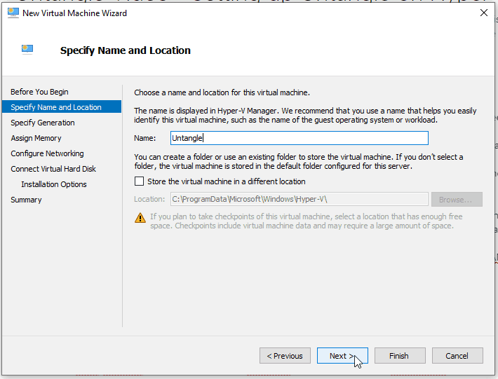 Virtual Switch Manger Hyper-V Create new VM Wizard