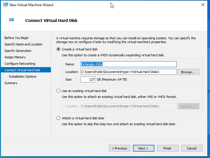Virtual Switch Manger Hyper-V Name the Virtual HDD