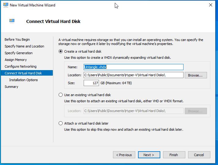 Virtual Switch Manger Hyper-V Name the Virtual HDD