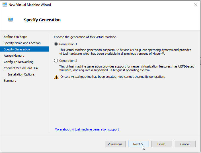 Virtual Switch Manger Hyper-V Create Generation 1 VM