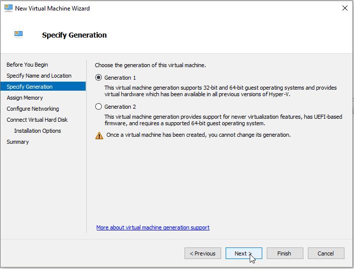 Virtual Switch Manger Hyper-V Create Generation 1 VM