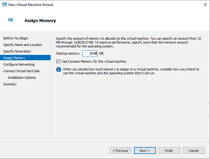 Virtual Switch Manger Hyper-V Allocate Ram