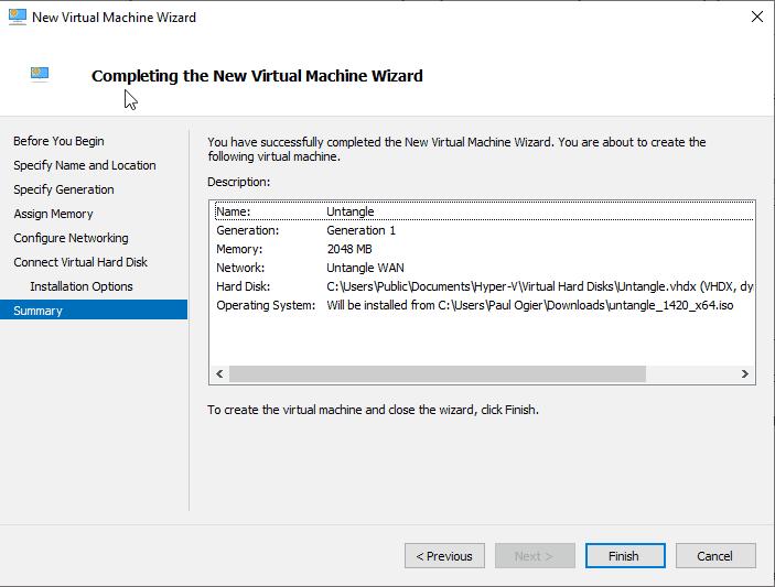 Final Screen of new VM creation
