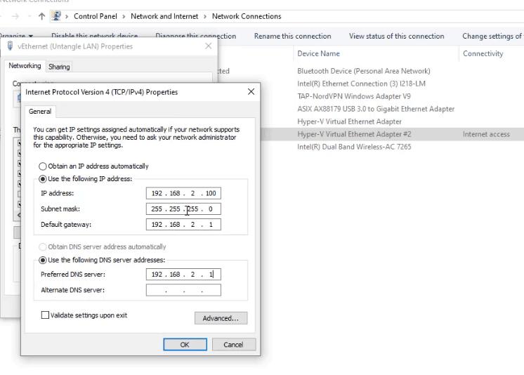 Set your IP gateway manually