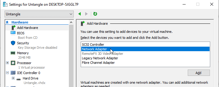 Add second NIC for VM