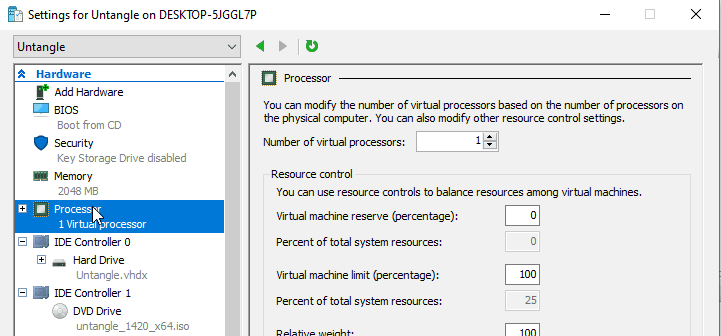 Select number of processors for Untangle