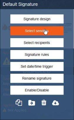 Select senders Exclaimer