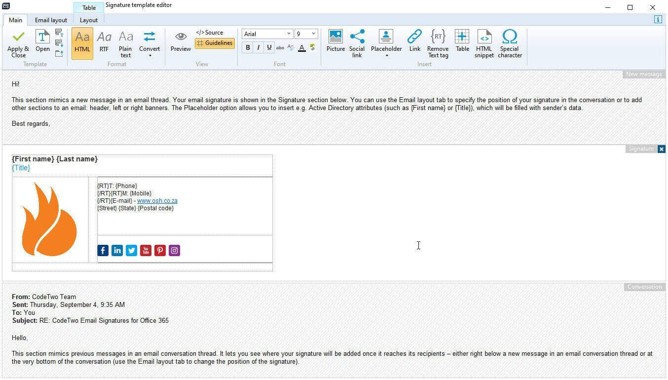CodeTwo Email Signature Template Editor