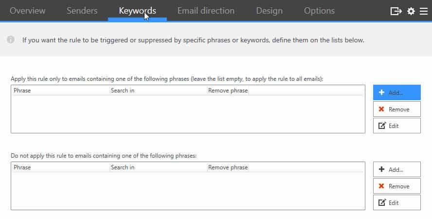 CodeTwo Keywords Rule
