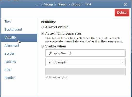 Exclaimer Visibility if then