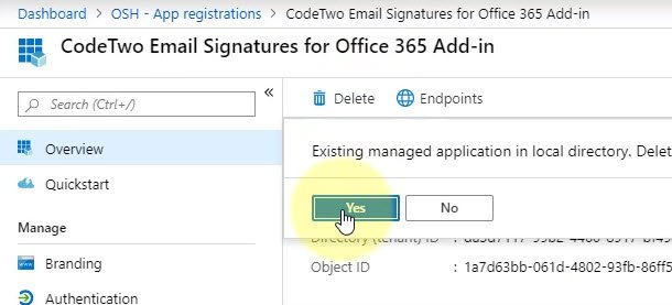 Azure Active Directory Admin Center - App Registrations - Delete CodeTwo App registrations