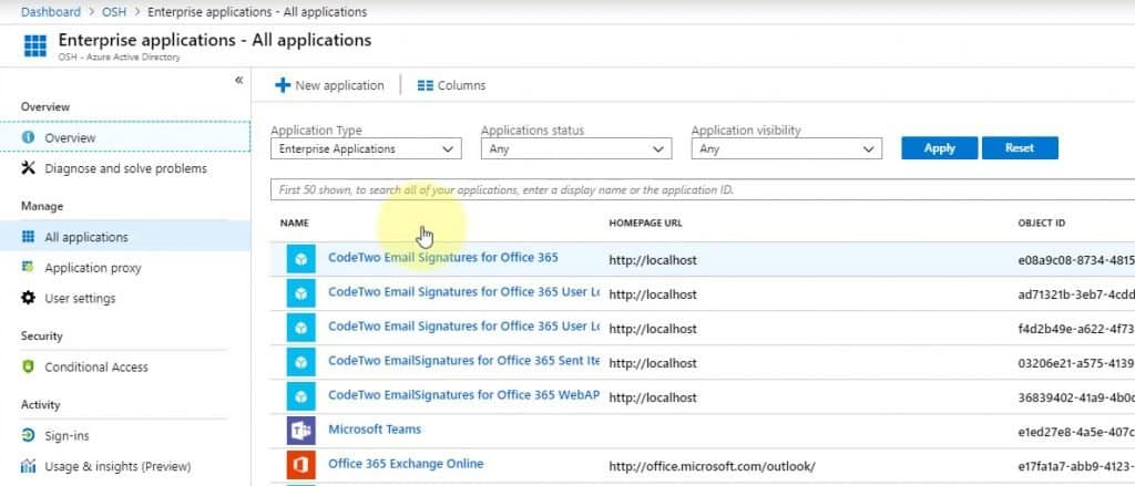 Azure Active Directory Admin Center - Enterprise Applications - List of All CodeTwo Applications