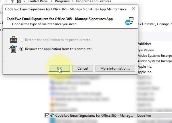 Uninstall CodeTwo Manage Signatures App