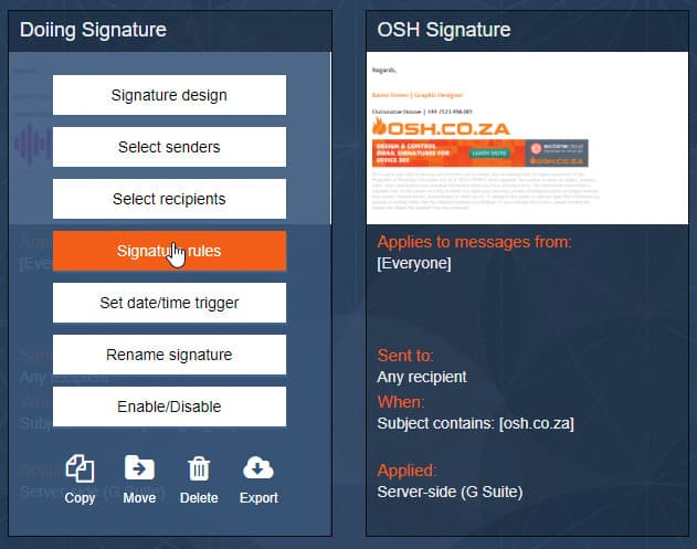 Exclaimer Signature Rules